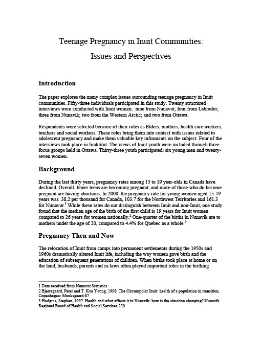 Teenage Pregnancy In Inuit Communities Issues And -4539